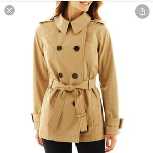 Short tan  trench coat belted plus size